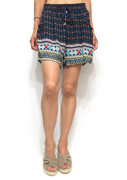 Pants198 Holiday Short Pants/Multi Diamonds on Navy