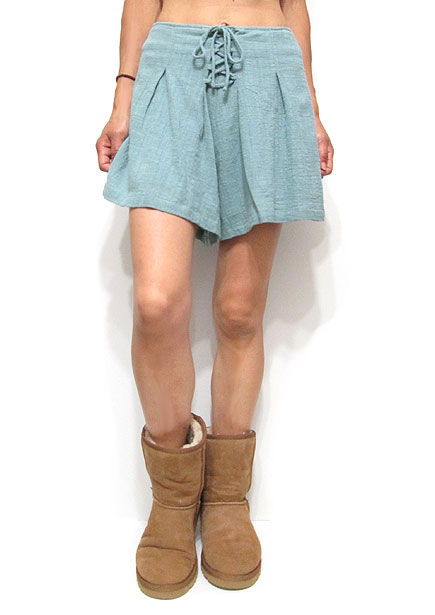 Pants203 Waist-Tie Pleated Shorts/Pistachio