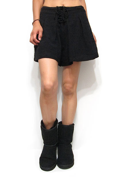 Pants204 Waist-Tie Tucked Shorts/Black