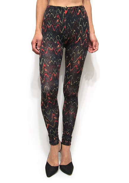 Pants208 Water Color Print Leggings/Black