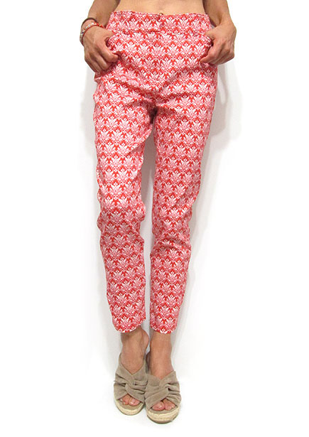 Pants222 Ornament Print Ankle Pants/Red