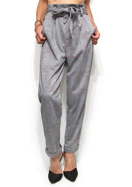 Pants227 Plaid Easy Tapered Pants/Grey