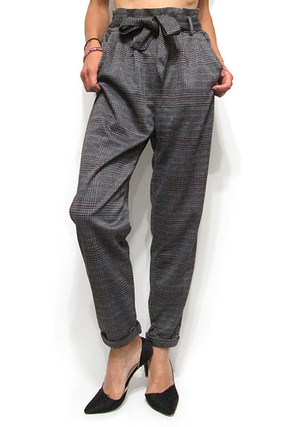 Pants228 Plaid Easy Tapered Pants/Charcoal