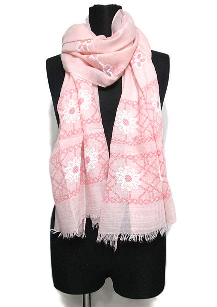 Scarf125 Daisy Print Stole/Pink