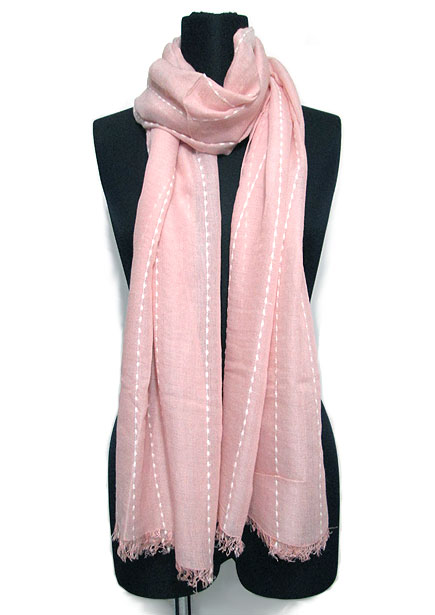 Scarf129 Soft Feel Maxi Stole with Stitches/Pink