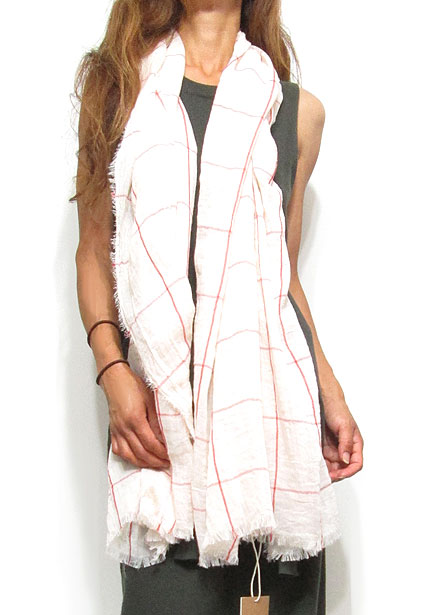 Scarf132 Red Check Maxi Stole/Taupe