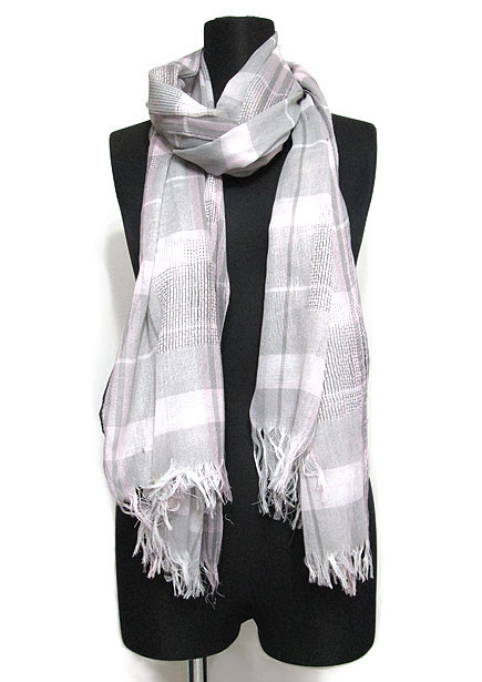 Scarf133 Block Plaid Maxi Stole/Pink & Grey Mix