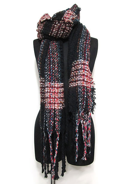Scarf141/Multi Color Interwoven Stole/Black