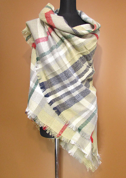 Scarf153 Super Soft Plaid Blanket Stole/Taupe