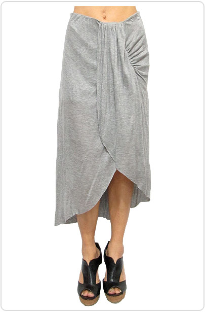 Skirt029 Ruched Assymetric Skirt/Heather Grey