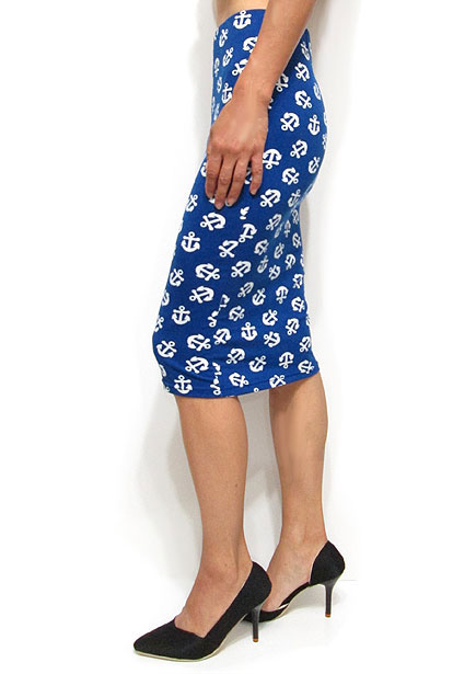 Skirt035 Marine Motif Midi Pencil Skirt/Blue