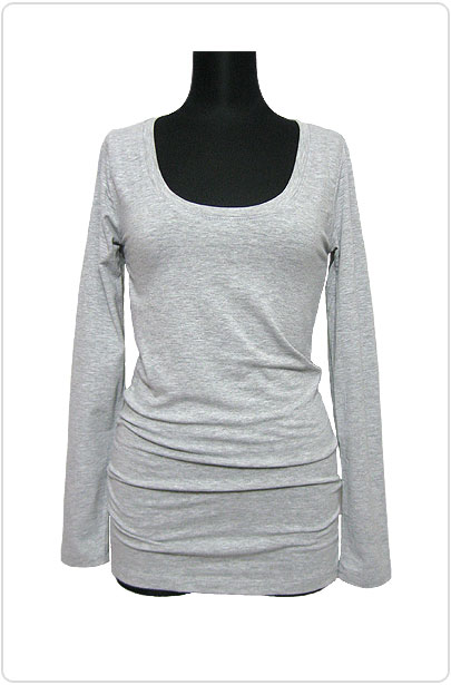 Tops291 Basic Scoop Neck L/S T-Shirt/Grey