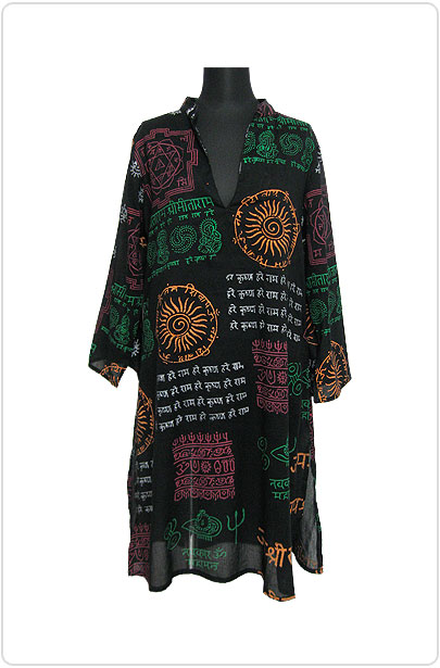 Tops370 Tunic Dress w/ Ethnic Print/Black