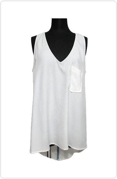 Tops407 Back-Tail Slit Tank Shirt/White