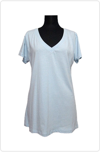 Tops442 Basic Oversized V-Neck T/Baby Blue