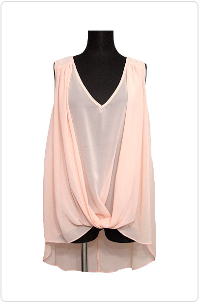 Tops446 Back-Tail Drape Tank Blouse/Peach