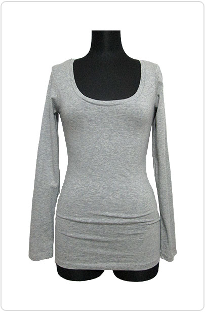 Tops450 Basic Scoop Neck L/S T/Heather Grey