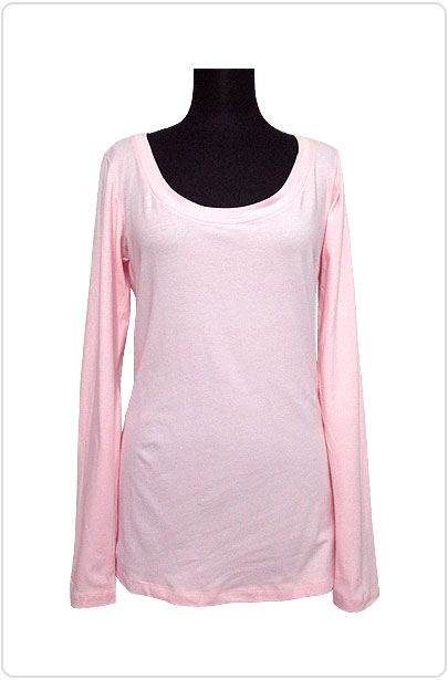 Tops471 Basic Scoop Neck L/S T/Pink
