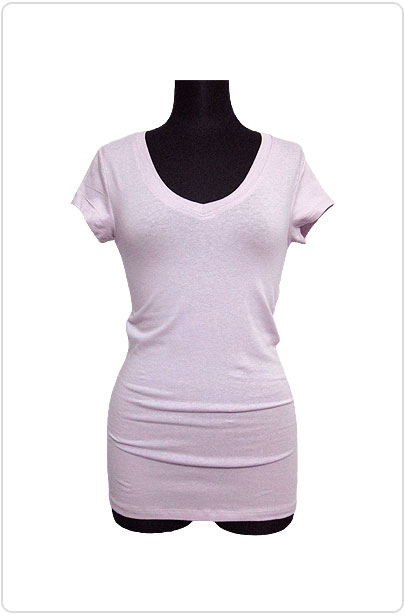 Tops493 Basic V-Neck S/S T-Shirt/Iris