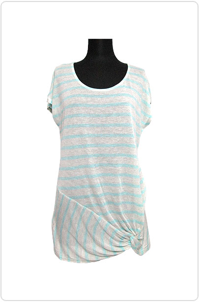 Tops506 Assymetry Ruched Hem T/Mint Stripe