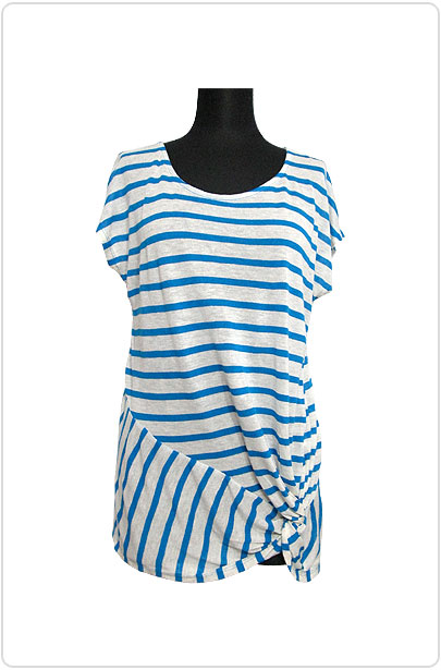 Tops507 Assymetry Ruched Hem T/Blue Stripe