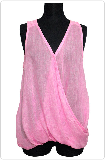Tops517 Wrap-Over Tank Blouse/Pink