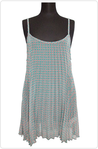 Tops520 Pleated Tunic Tank Top/Green Mix