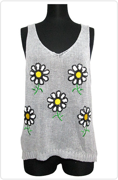 Tops561 Flower Sequin Knitted Tank Top/Grey