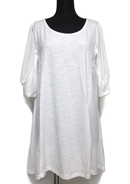 Tops611 Puff Sleeve Tunic Top w/ Contrast Side/White