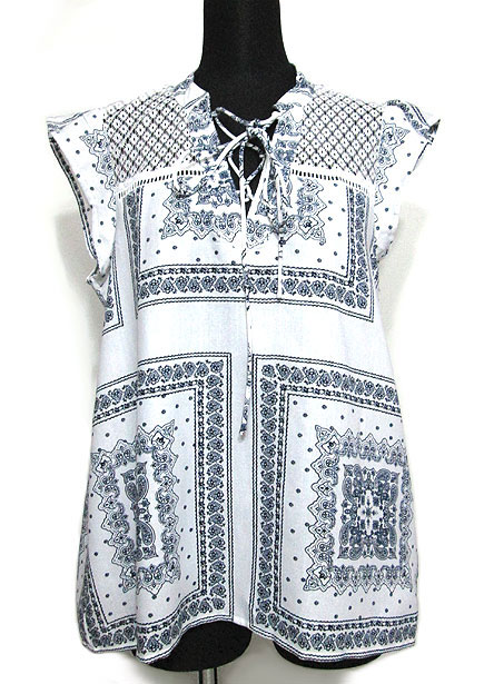 Tops655 Embroidery Print Cap Sleeve Top/White