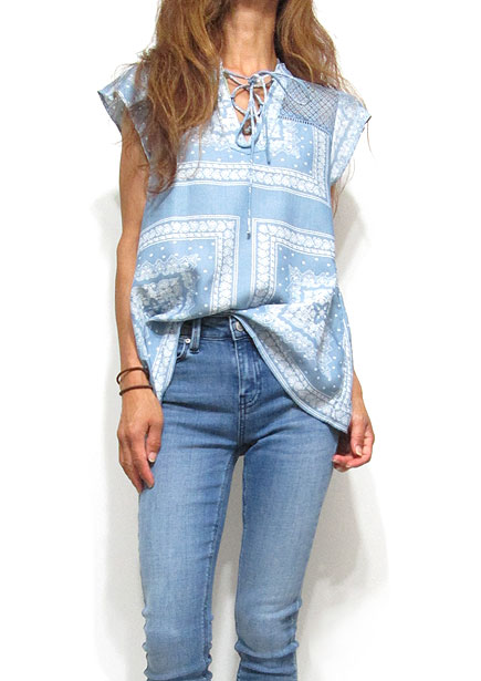 Tops656 Embroidery Print Cap Sleeve Top/Blue