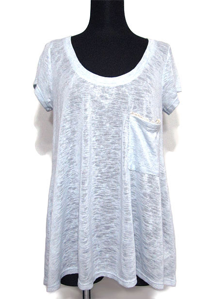 Tops657/Back Lace Trim Knitted T/Sky