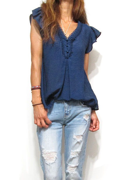 Tops713 Frill Sleeve V-Cut Blouse/Navy