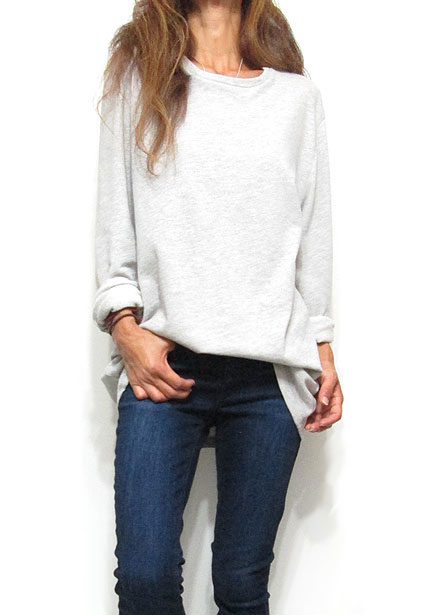 Tops721 Oversized Sweat Top/Heather Grey
