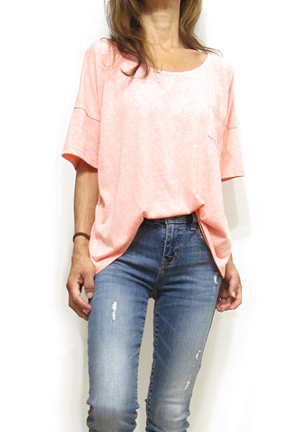 Tops765 Drop Shoulder Box T-Shirt/Coral